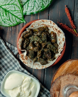 Grape leaf dolma and bowl with katyk