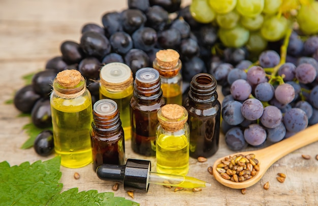 Grape seed oil in a small bottle