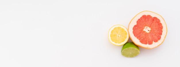 グレープフルーツとレモンの白い背景の上