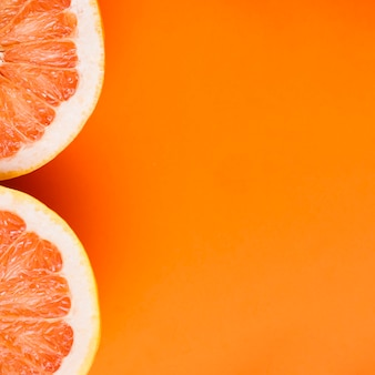 Grapefruit background and copyspace on right