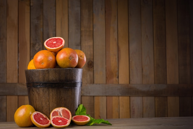 Grapefruit basket still life