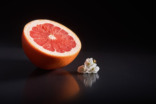 Grapefruit isolated on a black.