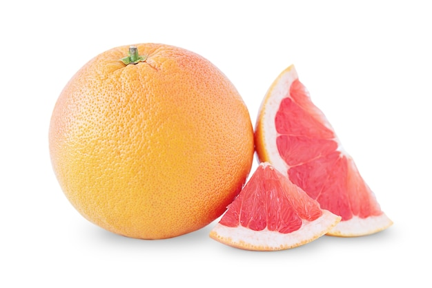 Grapefruit and its slices isolated