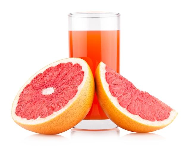 熟したグレープフルーツとグレープフルーツジュース