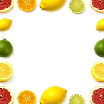 白地にグレープフルーツ、ライム、レモン、マンダリン