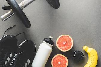 Grapefruit near sports supplies
