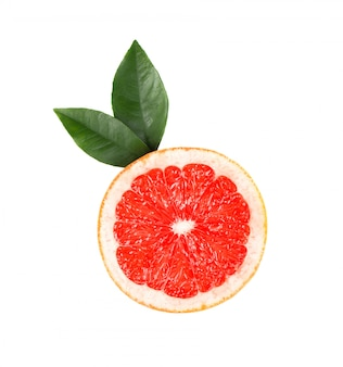 Grapefruit piece isolated on white space. fresh fruit. with clipping path. fresh grapefruit with green leaves isolated.