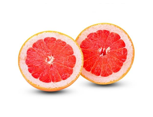 グレープフルーツのスライスは、白い背景で隔離。
