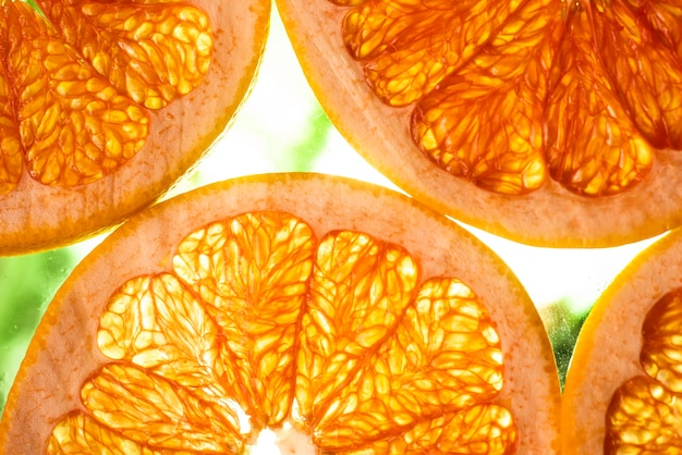 Grapefruit slices with blurred background