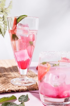 Grapefruit and strawberry fresh drink