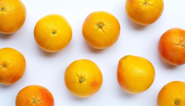 Grapefruits on white background.