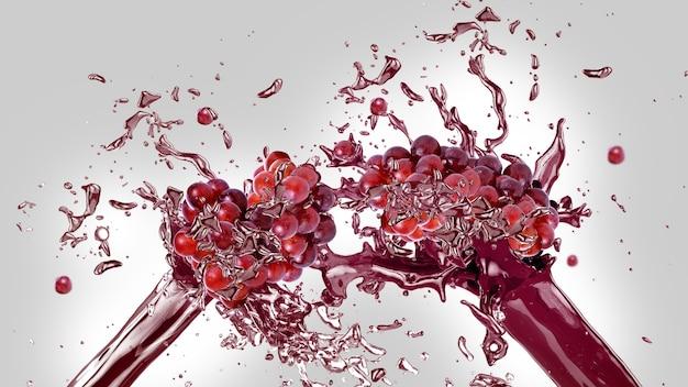 Grapes juice splash background