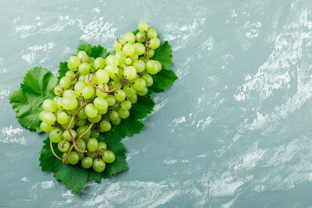 Grapes with leaves flat lay on a grungy plaster background