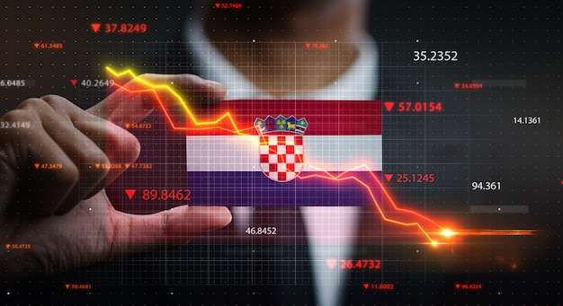 Graph falling down in front of croatia flag. crisis concept