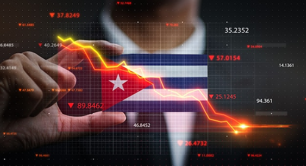 Graph falling down in front of cuba