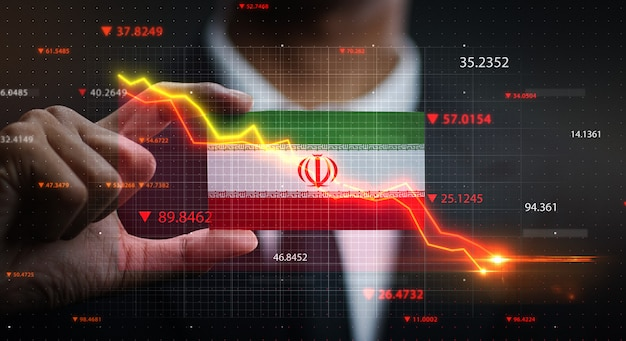Graph falling down in front of iran flag. crisis concept