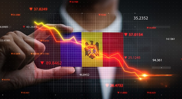 Graph falling down in front of moldova flag. crisis concept
