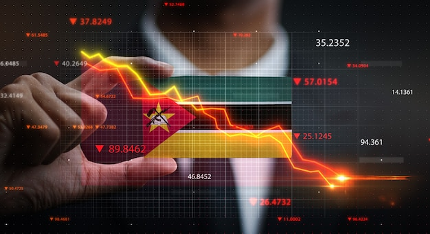 Graph falling down in front of mozambique flag. crisis concept