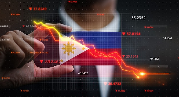Graph falling down in front of philippines flag. crisis concept