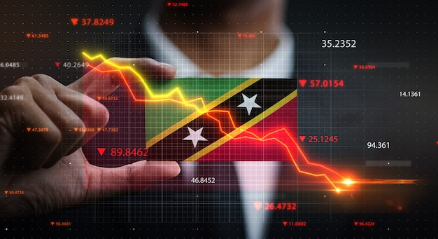 Graph falling down in front of saint kitts and nevis flag. crisis concept