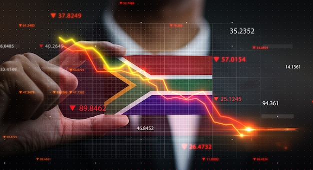 Graph falling down in front of south africa flag. crisis concept