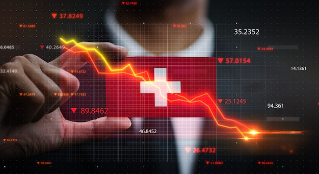 Graph falling down in front of switzerland flag. crisis concept