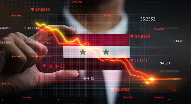 Graph falling down in front of syria flag. crisis concept