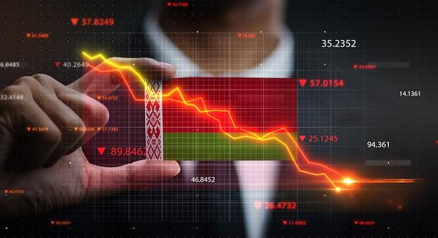 График падает перед флаг беларуси. концепция кризиса