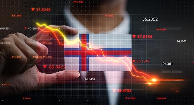График падает перед флаг фарерских островов. концепция кризиса