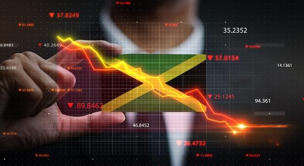 ジャマイカの旗の前で落ちるグラフ。危機の概念