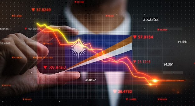 График падает перед флагом маршалловых островов. концепция кризиса