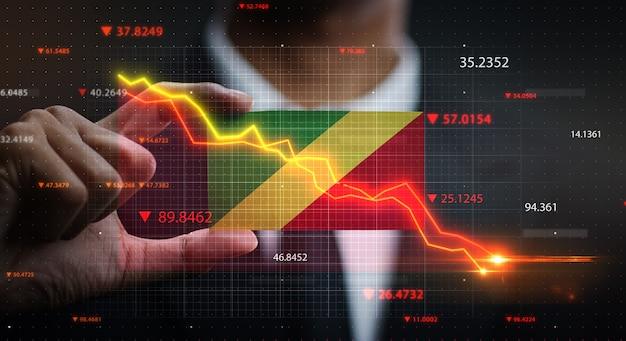 График падают перед флагом республики конго. концепция кризиса