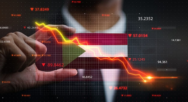 График падает перед флагом судана. концепция кризиса