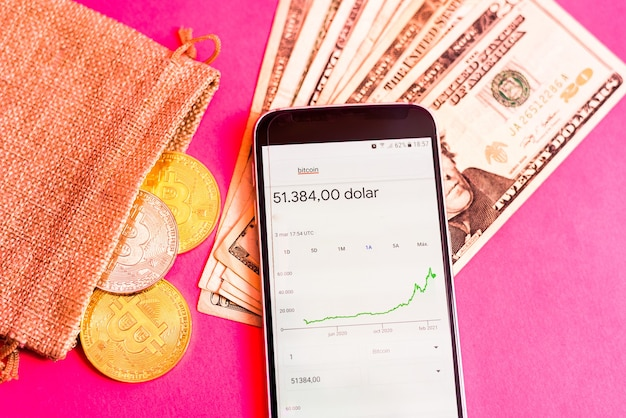 Graph with the rise in the price of bitcoin seen in a mobile app