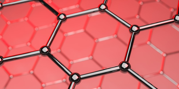 Graphene molecular nano technology structure on red - 3d rendering