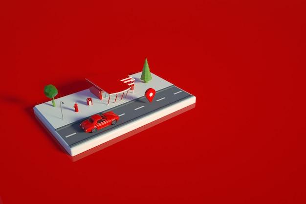 車のガソリンスタンドのグラフィック3dモデル。赤い孤立した背景上のガソリンスタンドの赤いモデル。 3dグラフィックス、上面図