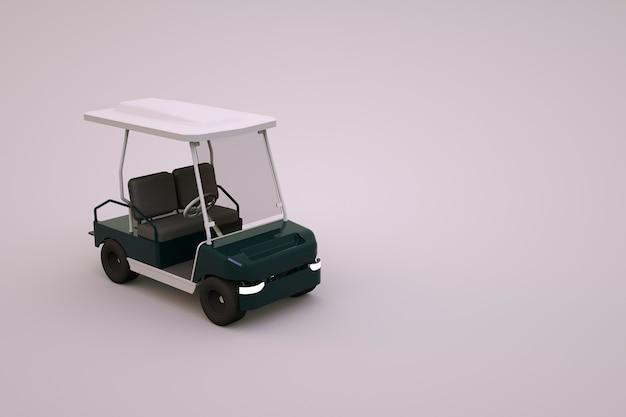 격리 된 흰색 배경에 스포츠 골프 자동차의 그래픽 3d 모델. 관광객을위한 흰색 골프 자동차. 확대.
