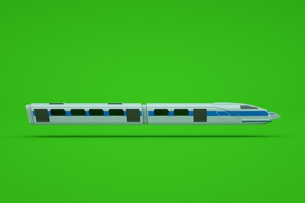 緑の孤立した背景に電車や地下鉄のグラフィック3dモデル。電車、地下鉄、高速鉄道、急行、3dモデル、グラフィックス。側面図
