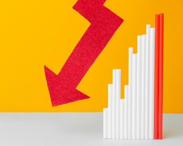 グラフィックと統計の概念フラットレイ