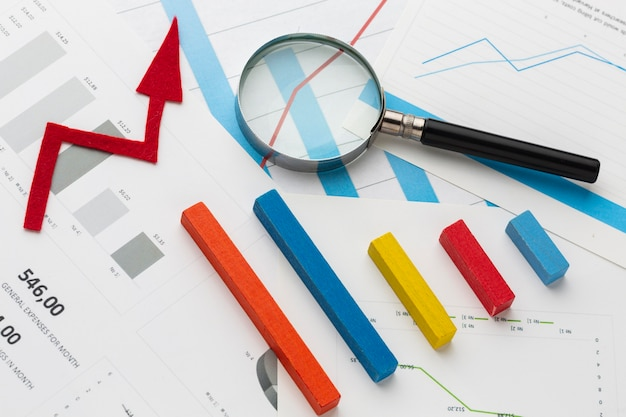 グラフィックと統計の概念 Premium写真