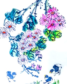 Graphic background plum traditional art japanese