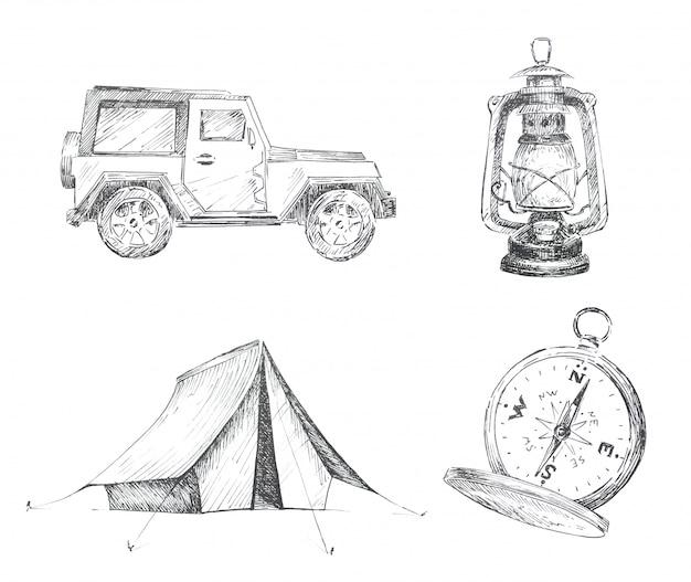 Графический кемпинг тематический клипарт набор изолированных. иллюстрации автомобилей, палаток, старинных фонарей и компасов. концепция дизайна путешествия установлена.