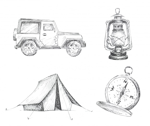 Graphic camping themed clipart set isolated. car, tent, vintage lantern and compass illustrations. travel concept design set.