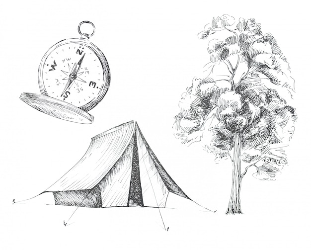 Graphic camping themed clipart set isolated. tent, vintage compass and tree illustrations. travel concept design set.