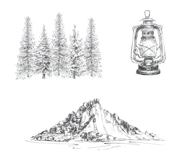 Графический кемпинг тематический клипарт набор изолированных. старинный фонарь, лесной пейзаж и горы пейзаж иллюстрации. концепция дизайна путешествия установлена.