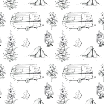 Graphic camping themed seamless pattern . camping tent, vintage compass, van illustrations. travel concept design set.