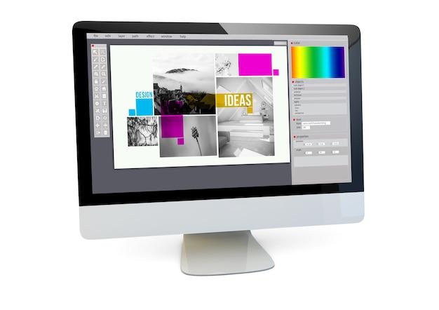 그래픽 디자인 개념. 고립 된 화면에 레이아웃 소프트웨어와 컴퓨터의 렌더링. 3d 렌더링