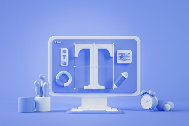 Graphic design desktop 3d rendering