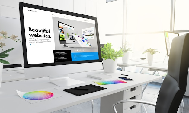 グラフィックデザインスタジオのウェブサイトビルダーの3dレンダリング