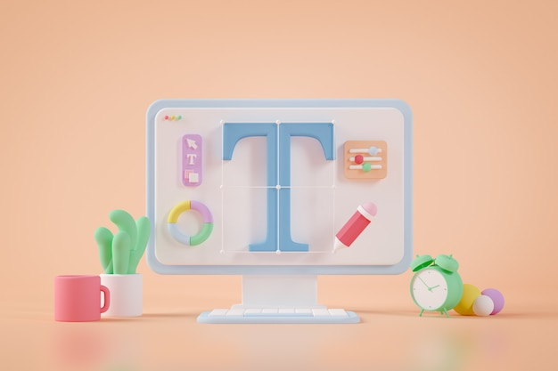 Graphic design surreal desktop 3d rendering
